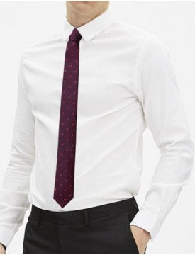 Cravate slim bordeaux à motifs